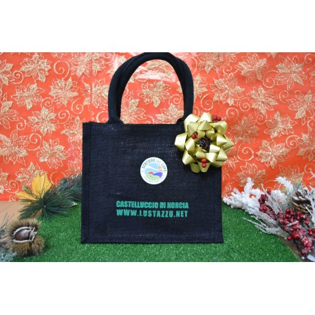 SHOPPER IN JUTA 100% NERE MANICO IN COTONE